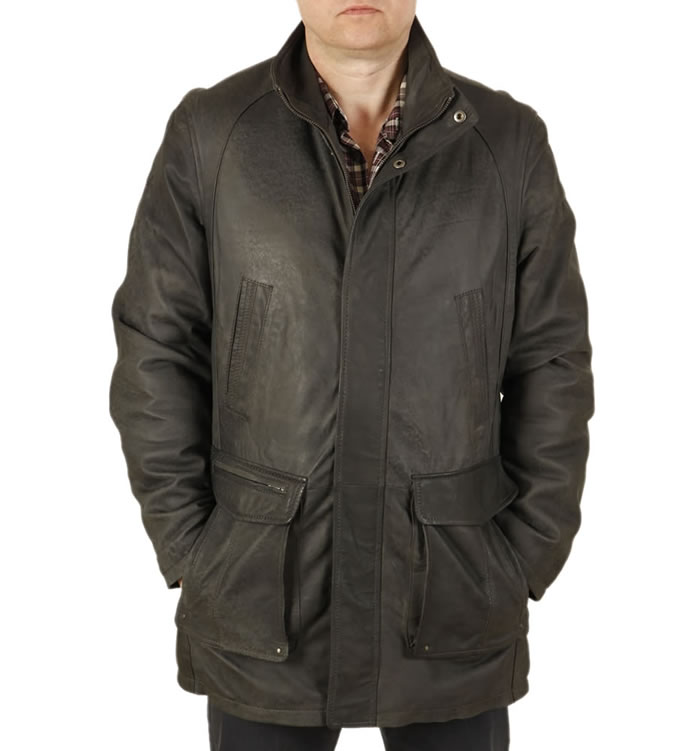 "Gents 3/4 Length  Charcoal ""Buff"" Leather Coat - SL11037"