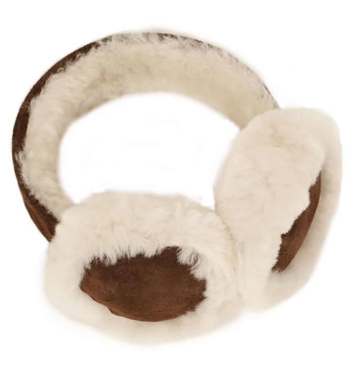 Whisky Brown Sheepskin Ear Muffs - SL611184