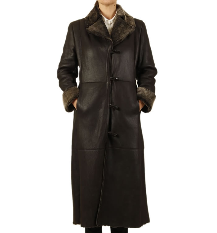 Full Length Brown Lambskin Coat - SL11776