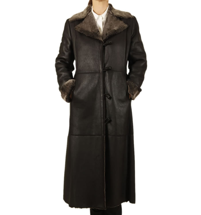 Full Length Black Lambskin Coat - SL117761