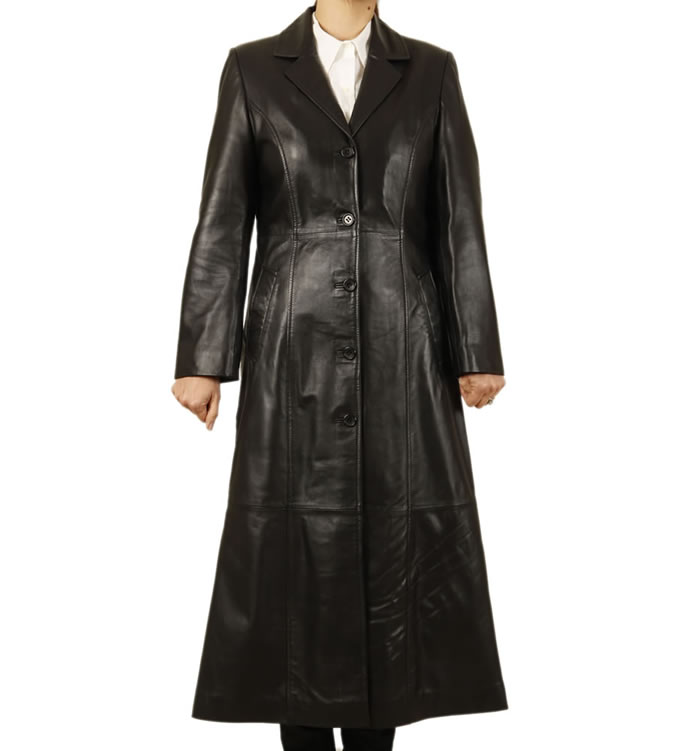Ladies Full Length Black Leather Coat - SL1171