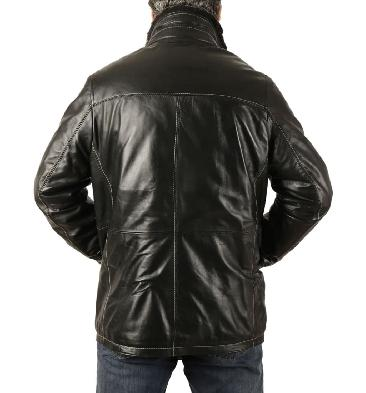 SL1256 - Mens Black 3/4 Leather Coat With Zip Out Collar