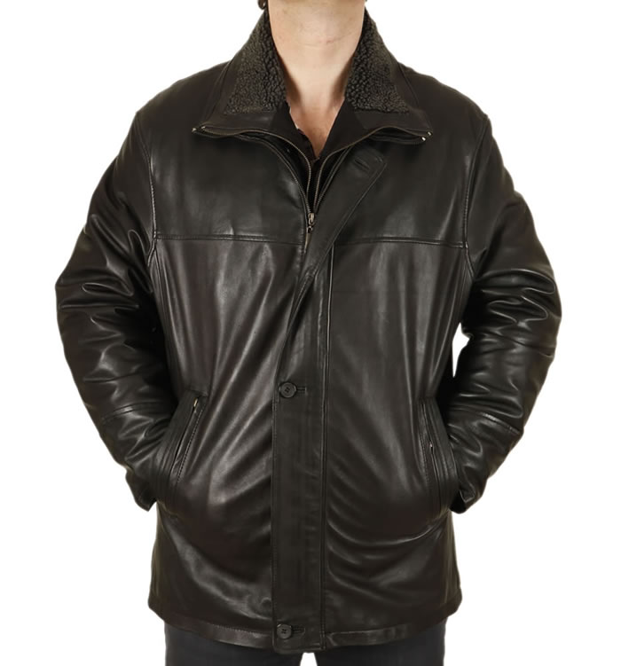 Mens Black Nappa 3/4 Leather Coat With Zip Out Collar - SL12561