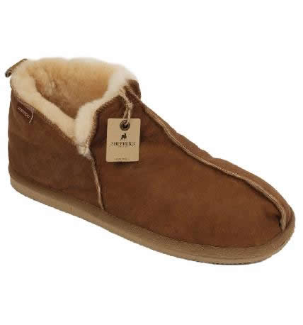 Shepherd Ladies Boot Style Antique Leather Sheepskin Slipper - SL61211LW