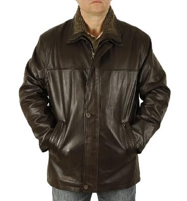 Mens Brown Leather 3/4 Leather Coat With Zip Out Collar - SL125611