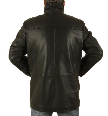 SL125621 - Mens Hip Length Black Leather Coat With Zip Off Collar