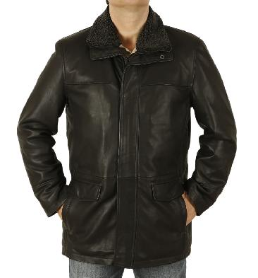 Mens Hip Length Black Leather Coat With Zip Off Collar - SL125621