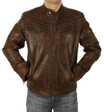 Antique Brown Leather Biker Jacket With Chevron Detail - SL10112