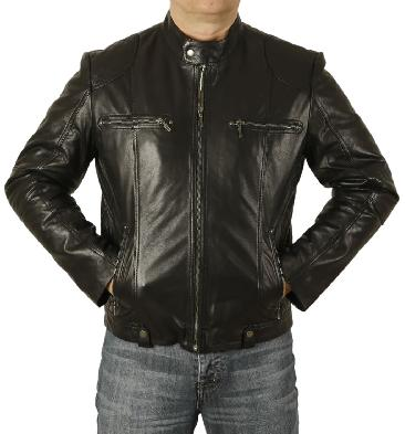 Black Leather Biker Jacket With Side Quilting Detail - SL10113