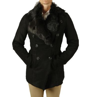 Ladies Black Merino Lambskin Jacket With Tuscana Collar And Cuffs - SL117921