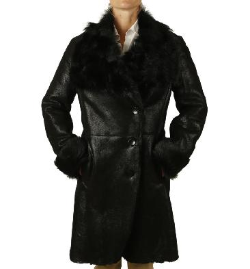 Ladies Black 3/4 Lambskin Coat With Tuscana Collar And Cuffs - SL117923
