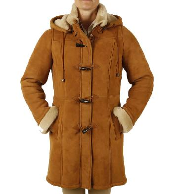 SL11445 - Ladies Suede Finish Sheepskin Duffle Coat