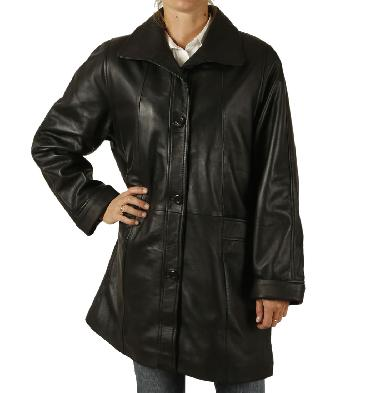 "Ladies ""Easyfit"" Black Leather Coat - SL11470"