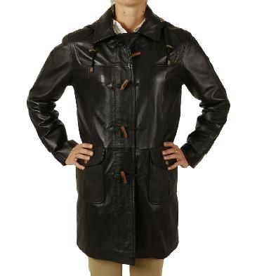 Ladies 3/4 Length Black Leather Duffle Coat - SL11920