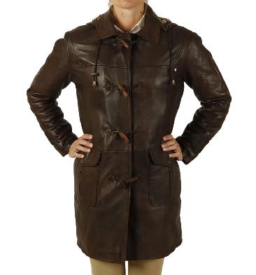 Ladies 3/4 Length Brown Leather Duffle Coat - SL11921