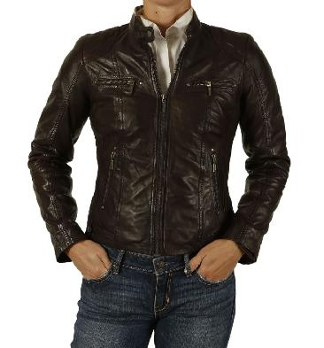 Ladies Antiqued Brown Leather Biker Jacket With Quilting Detail - SL1180132