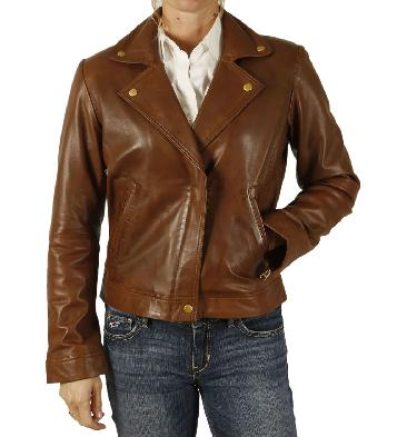 Ladies Brando Style Cross Zip Leather Biker Jacket - SL1188