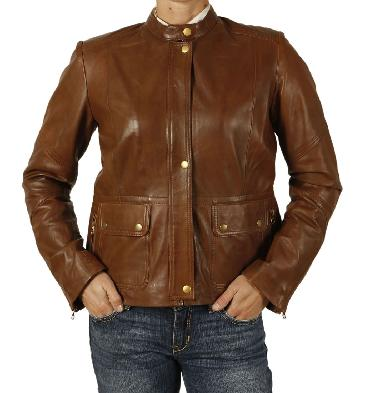 Ladies Multi Detail Zip Leather Jacket - SL1189