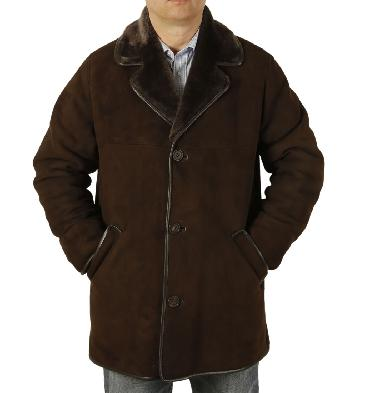 Mens Classic Sheepskin Coat In Brown - SL11742