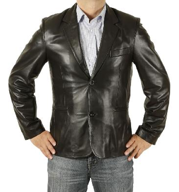 New Style Two-Button Black Fitted Leather Blazer - SL1005