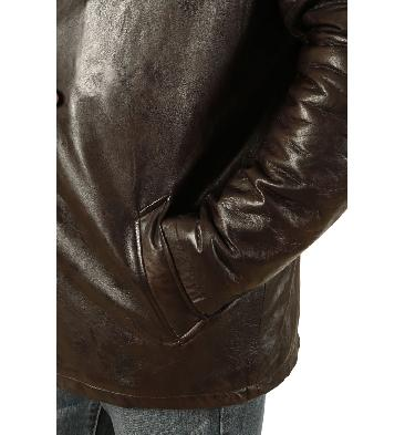 SL11182 - Mens Brown Leather Box Jacket