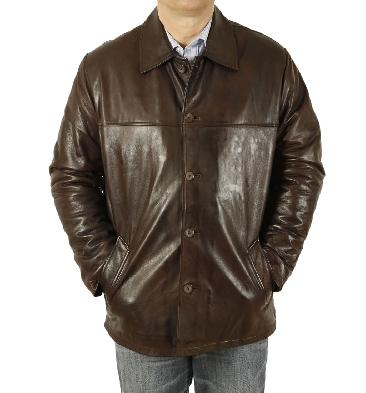 Mens Brown Leather Box Jacket - SL11182