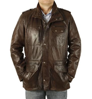 Brown Leather Multi Pocketed 3/4 Jacket - SL115658