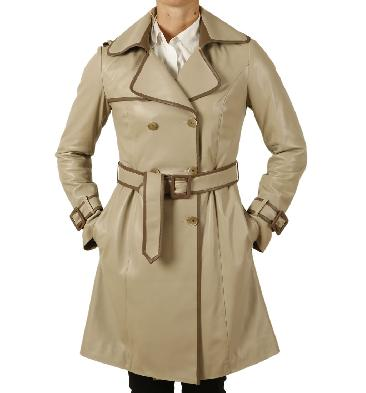 Ladies Designer Two Colour Leather Trench Coat - SL12120