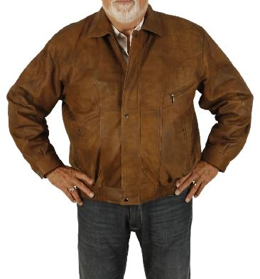 Size 5XL Mens Tan Buff Leather Blouson - SL101315XL