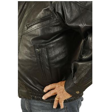 SL1013214XL - Size 4XL Mens Black Leather Blouson