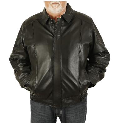 Size 7XL Mens Black Leather Blouson - SL11167XL