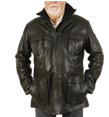 "4XL ""Hugo"" Black Leather Zip Up Safari Style Jacket - SL115654XL"