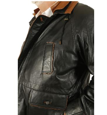 SL120946XL - Easy-Fit 3/4 Length Black Leather Coat With Tan Trim