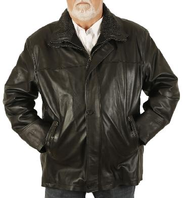 Size 5XL Mens Black Nappa 3/4 Leather Coat With Zip Out Collar - SL125615XL