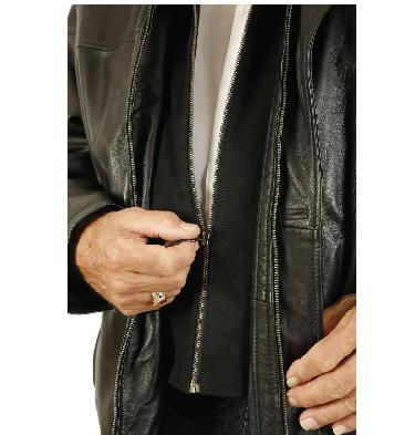 SL125617XL - Size 7XL Mens Black Nappa 3/4 Leather Coat With Zip Out Collar