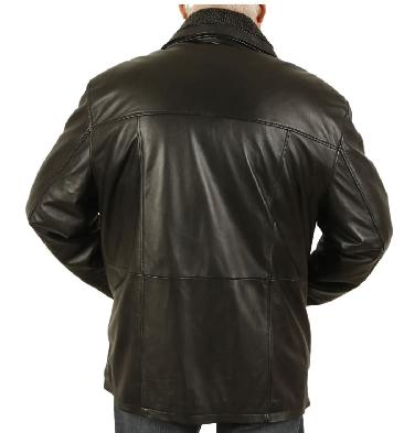 SL125618XL - Size 8XL Mens Black Nappa 3/4 Leather Coat With Zip Out Collar