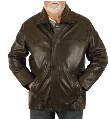 Size 5XL Mens Brown Hide 3/4 Leather Coat With Zip Out Collar - SL1256115XL