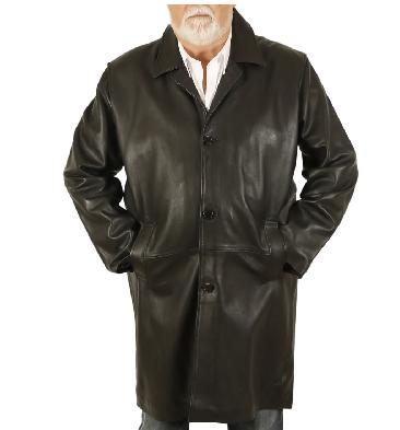 Size 5XL Closed Collar 7/8 Style Black Hide Leather Coat - SL112525XL