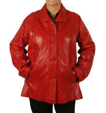 Plus Size 26 Ladies 3/4 Red Leather Jacket With Inlaid Detail - SL1341126