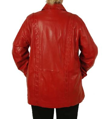 SL1341126 - Plus Size 26 Ladies 3/4 Red Leather Jacket With Inlaid Detail