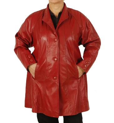 SL1106118 - Plus Size 22/24 3/4 Length Red Leather 'Swing' Coat