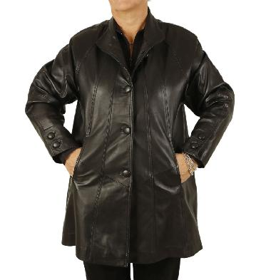 Plus Size  3/4 Length Black Leather 'Swing' Coat - SL1106418