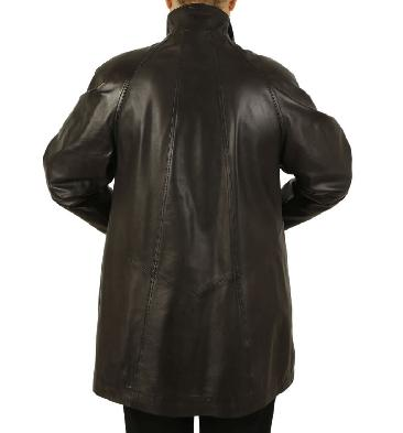 SL1106418 - Plus Size  3/4 Length Black Leather 'Swing' Coat