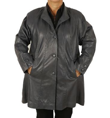 Plus Size 22/24 3/4 Length Navy Leather 'Swing' Coat - SL1106618