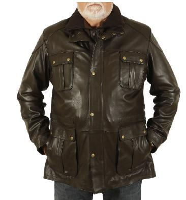 "4XL ""Hugo"" Brown Leather Zip Up Safari Style Jacket - SL115664XL"