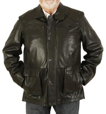 Plus Size 5XL Men's Black Leather Zip Up 3/4 Safari Style Jacket - SL115615XL