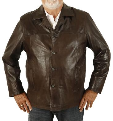 Size 5XL Gents Four Button Brown Leather Jacket - SL1130115XL