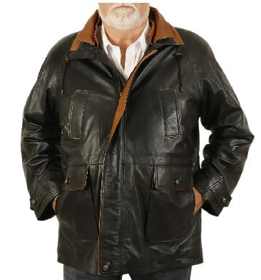 Easy-Fit 3/4 Length Black Leather Coat With Tan Trim - SL120943XL