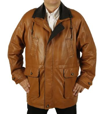 Easy-Fit 3/4 Length Tan Leather Coat With Black Trim - SL120942
