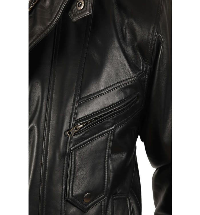 SL1113 - Mens Easy-Fit Blouson Style Black Leather Jacket